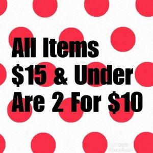 ⭐2 for $10 all items $15 & under